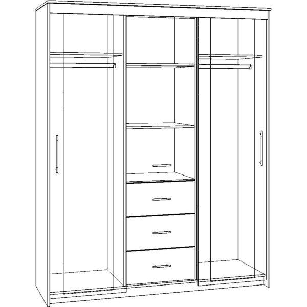 Картинка Шкаф-купе Модель-9 3-х дверный – 3 ящика с зеркалами черно-белая схема ракурс-1