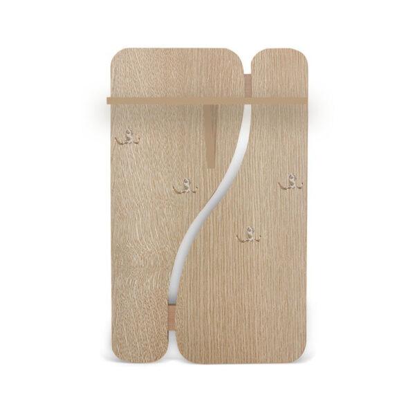 Картинка Вешалка для одежды №1 настенная Беленый Дуб дизайн-1 ракурс-1