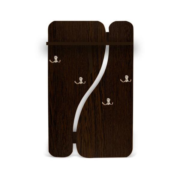 Картинка Вешалка для одежды №1 настенная Венге дизайн-3 ракурс-1