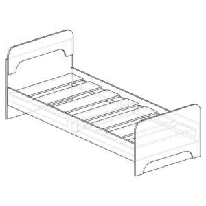 Картинка Кровать односпальная Фаворит-1 детская черно-белая схема ракурс-1