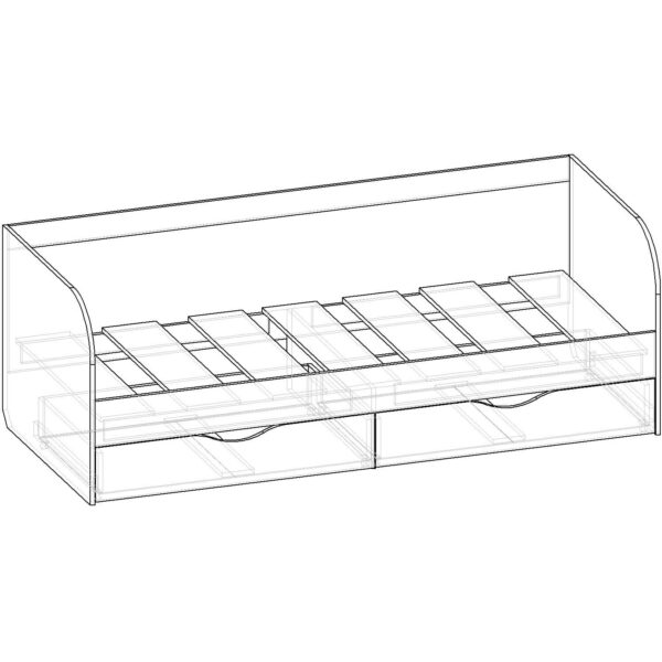 Картинка Кровать односпальная Фаворит-1 – 2 ящика черно-белая схема ракурс-1