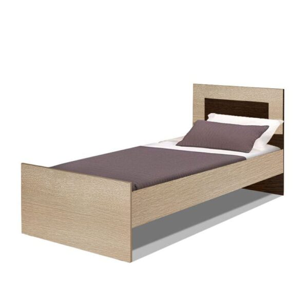 Картинка Кровать полутороспальная Камелия 1200 Венге Беленый Дуб дизайн-1 ракурс-1