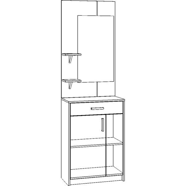 Картинка Прихожая №5 модуль 5 черно-белая схема ракурс-1