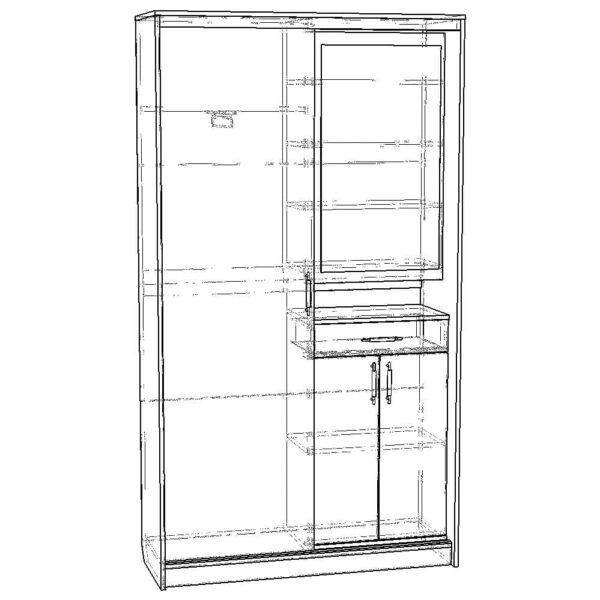 Картинка Прихожая №5 модуль 8 дизайн 2 черно-белая схема ракурс-1