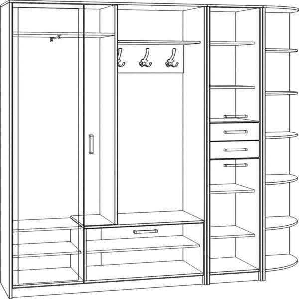 Картинка Прихожая №5 (Шкаф/Пенал/Стеллаж) черно-белая схема ракурс-1