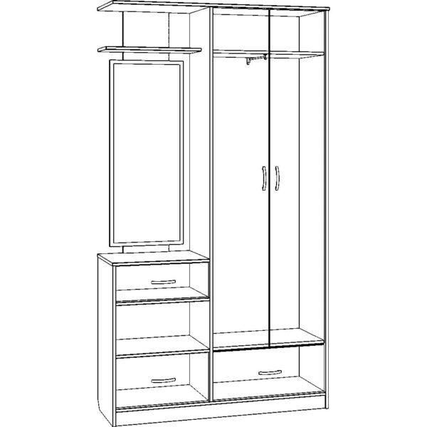 Картинка Прихожая №6 с зеркалом слева или справа черно-белая схема ракурс-1