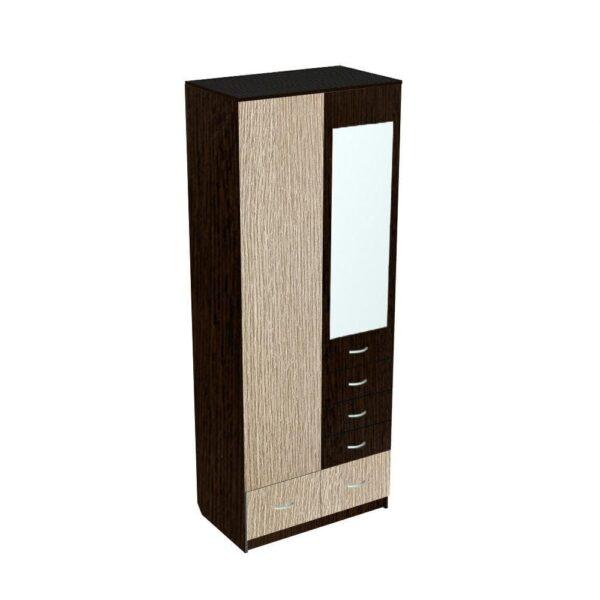 Картинка Шкаф 2-х дверный - 5 ящиков с зеркалом Венге Беленый Дуб дизайн-1 ракурс-1