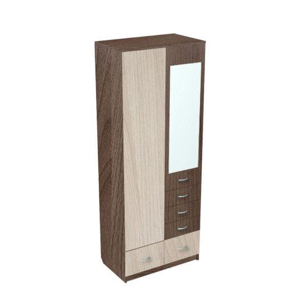 Картинка Шкаф 2-х дверный - 5 ящиков с зеркалом Ясень Темный Светлый дизайн-2 ракурс-1