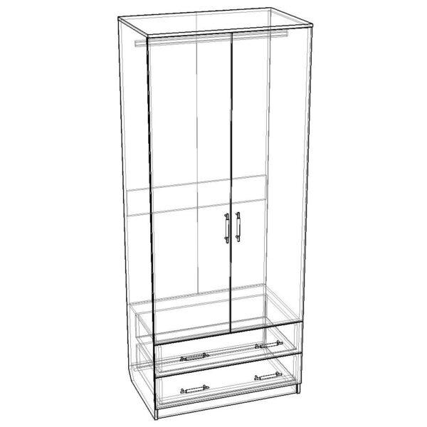 Картинка Шкаф Камелия 2-х дверный – 2 ящика черно-белая схема ракурс-1