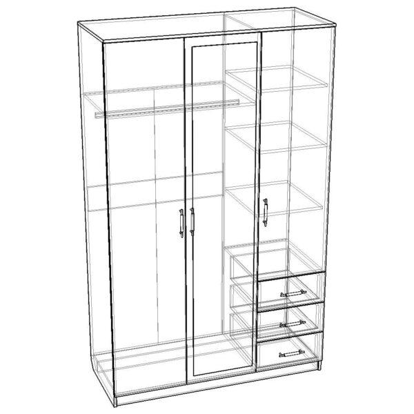 Картинка Шкаф Камелия 3-х дверный – 3 ящика с зеркалом черно-белая схема ракурс-1