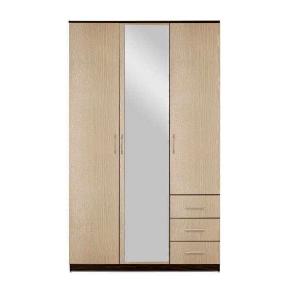 Картинка Шкаф Камелия 3-х дверный – 3 ящика с зеркалом Венге Беленый Дуб дизайн-1 ракурс-1