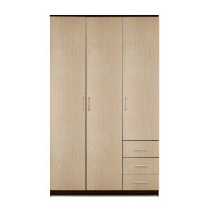 Картинка Шкаф Камелия 3-х дверный – 3 ящика Венге Беленый Дуб дизайн-1 ракурс-1