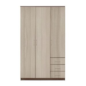 Картинка Шкаф Камелия 3-х дверный – 3 ящика Ясень Темный Светлый дизайн-2 ракурс-1