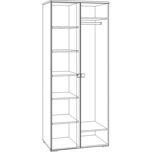 Картинка Шкаф Комфорт 2-х дверный черно-белая схема ракурс-1