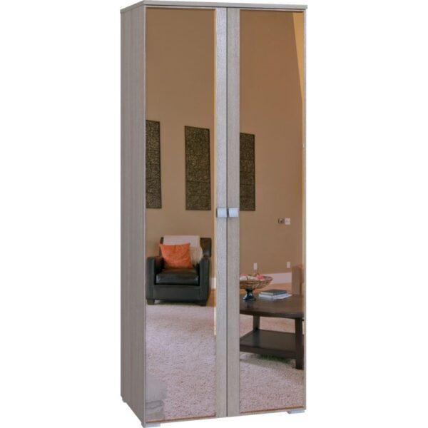 Картинка Шкаф Комфорт 2-х дверный с зеркалами Беленый Дуб дизайн-1 ракурс-1