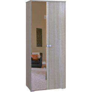 Картинка Шкаф Комфорт 2-х дверный с зеркалом Беленый Дуб дизайн-1 ракурс-1