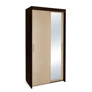 Картинка Шкаф-купе Камелия 2-х дверный с зеркалом Венге Беленый Дуб дизайн-1 ракурс-1