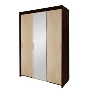 Картинка Шкаф-купе Камелия 3-х дверный с зеркалом Венге Беленый Дуб дизайн-1 ракурс-1