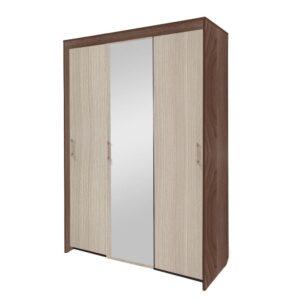 Картинка Шкаф-купе Камелия 3-х дверный с зеркалом Ясень Темный Светлый дизайн-2 ракурс-1