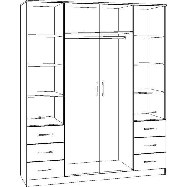 Картинка Шкаф 4-х дверный - 6 ящиков черно-белая схема ракурс-1