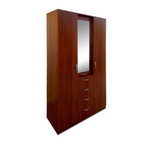 Картинка Шкаф 3-х дверный - 4 ящика с зеркалом Орех дизайн-1 ракурс-1