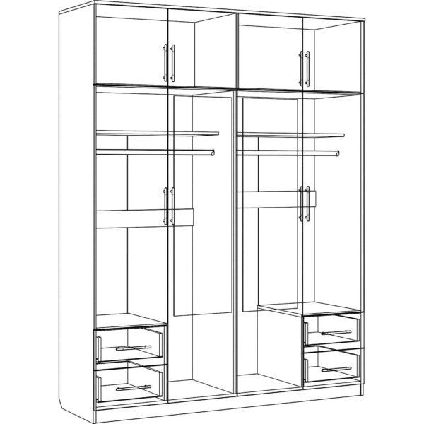 Картинка Шкаф 8-ми дверный - 4 ящика с зеркалами черно-белая схема ракурс-1