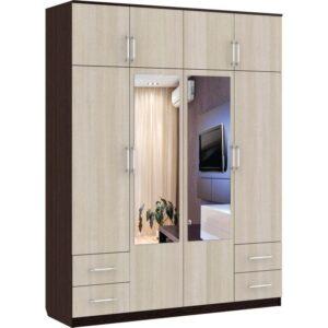 Картинка Шкаф 8-ми дверный - 4 ящика с зеркалами Венге Беленый Дуб дизайн-1 ракурс-1