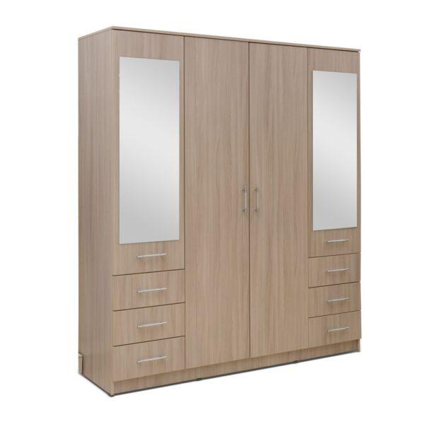 Картинка Шкаф 4-х дверный - 6 ящиков с зеркалами В-1 Ясень Светлый дизайн-2 ракурс-1
