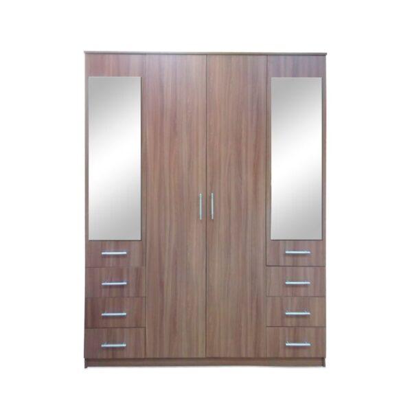 Картинка Шкаф 4-х дверный - 6 ящиков с зеркалами В-1 Ясень Темный дизайн-1 ракурс-1