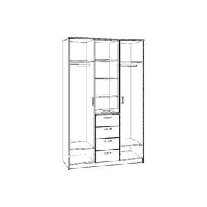 Картинка Шкаф 3-х дверный – 4 ящика с зеркалом В-2 черно-белая схема ракурс-1
