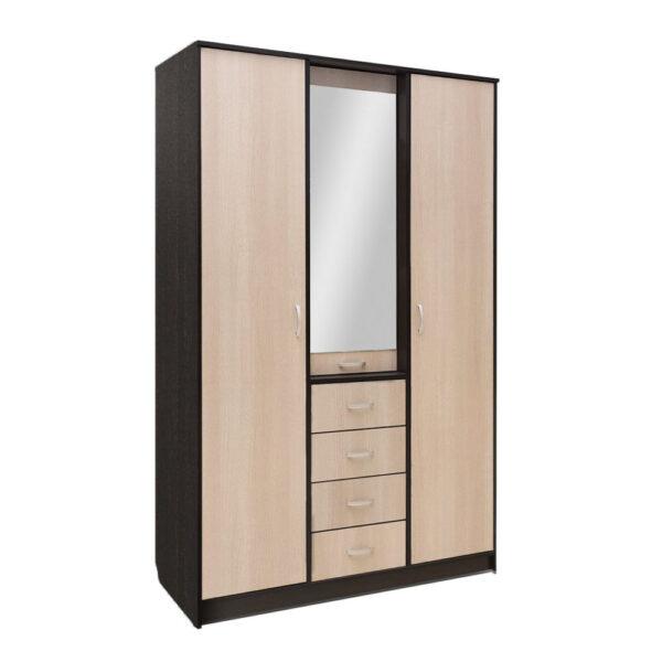Картинка Шкаф 3-х дверный – 4 ящика с зеркалом В-2 Венге Беленый Дуб дизайн-1 ракурс-1
