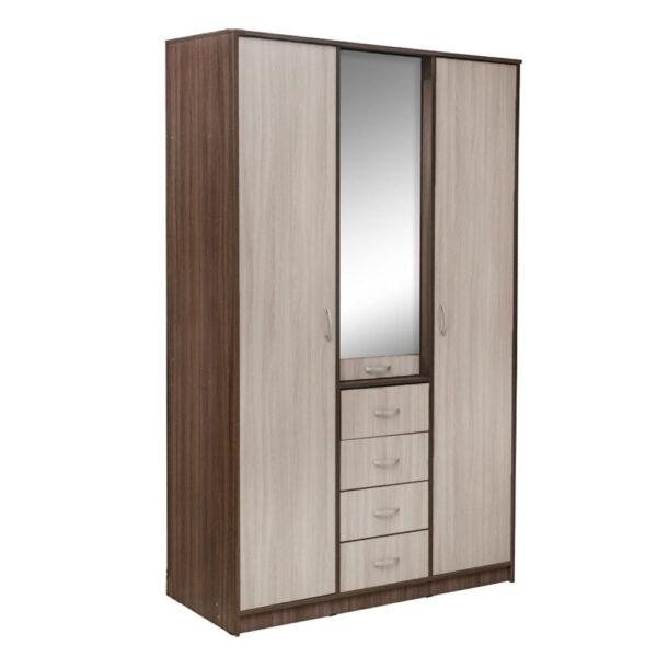 Картинка Шкаф 3-х дверный – 4 ящика с зеркалом В-2 Ясень Темный Светлый дизайн-2 ракурс-1