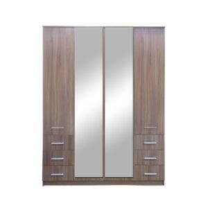 Картинка Шкаф 4-х дверный - 6 ящиков с зеркалами В-2 Ясень Темный дизайн-1 ракурс-1