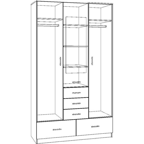 Картинка Шкаф 3-х дверный – 5 ящиков с зеркалом дизайн 2 черно-белая схема ракурс-1
