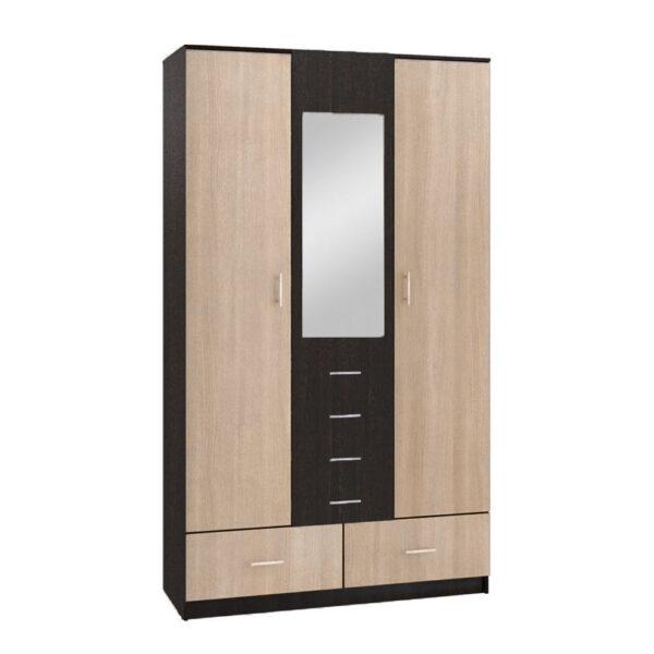 Картинка Шкаф 3-х дверный – 5 ящиков с зеркалом Венге Беленый Дуб дизайн-1 ракурс-1