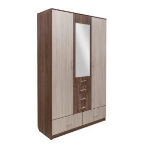 Картинка Шкаф 3-х дверный – 5 ящиков с зеркалом Ясень Темный Светлый дизайн-2 ракурс-1