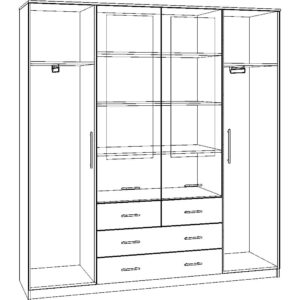Картинка Шкаф 4-х дверный - 4 ящика с зеркалами В-1 черно-белая схема ракурс-1