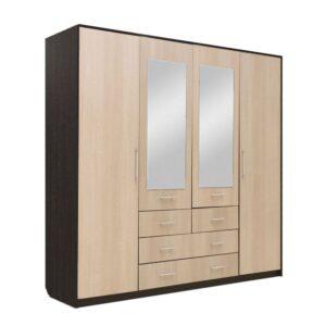 Картинка Шкаф 4-х дверный - 4 ящика с зеркалами В-1 Венге Беленый Дуб дизайн-1 ракурс-1