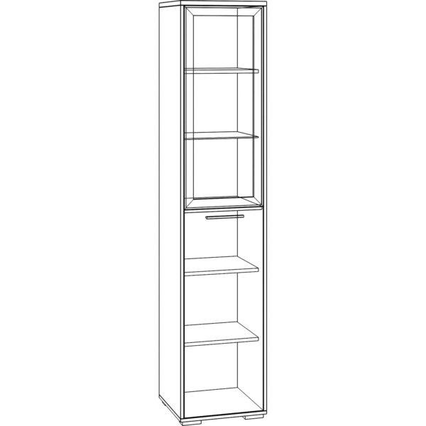 Картинка Шкаф-пенал Домино модуль №4 черно-белая схема ракурс-1