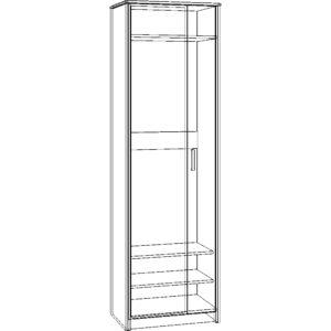 Картинка Шкаф-пенал Прихожая №5 Модуль №3 – 2-х дверный черно-белая схема ракурс-1