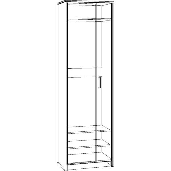 Картинка Шкаф-пенал Прихожая №5 Модуль №3 – 2-х дверный дизайн 2 черно-белая схема ракурс-1