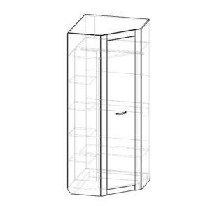 Картинка Шкаф угловой Фаворит-1 черно-белая схема ракурс-1
