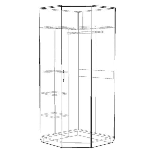 Картинка Шкаф угловой Камелия с зеркалом черно-белая схема ракурс-1