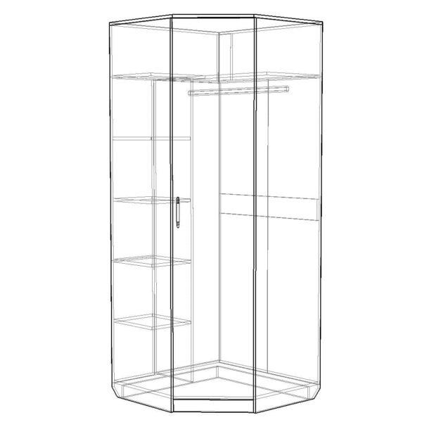 Картинка Шкаф угловой Камелия с зеркалом дизайн 2 черно-белая схема ракурс-1