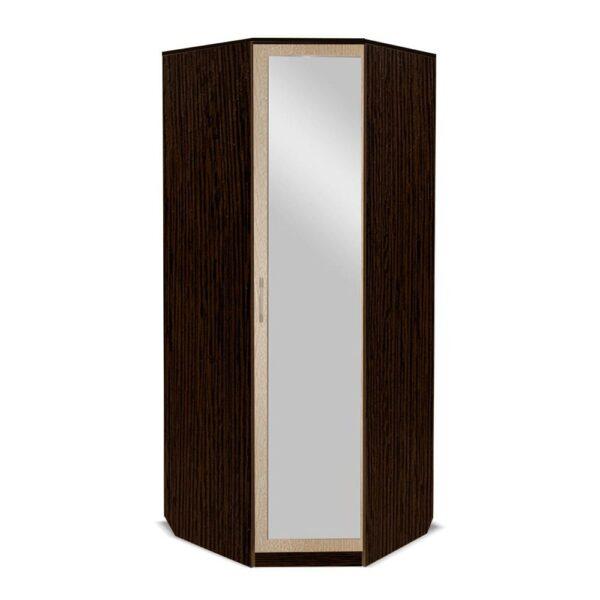 Картинка Шкаф угловой Камелия с зеркалом Венге Беленый Дуб дизайн-1 ракурс-1