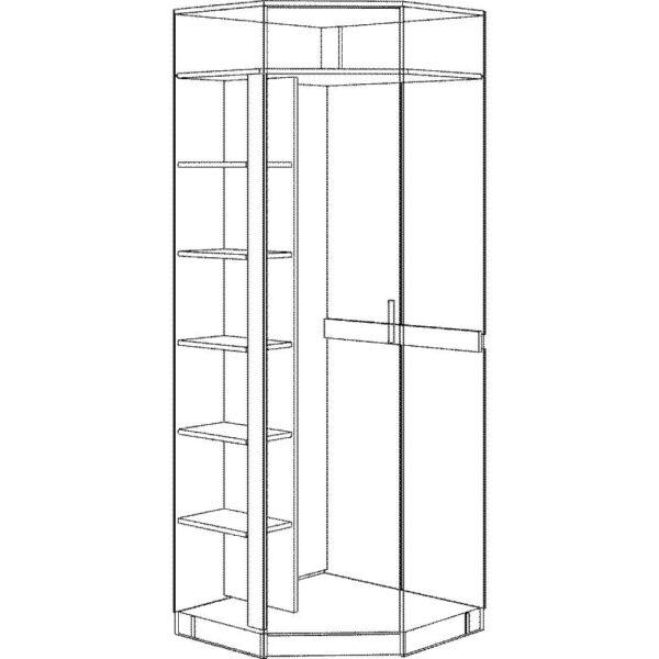 Картинка Шкаф угловой Прихожая №5 Модуль №7 черно-белая схема ракурс-1