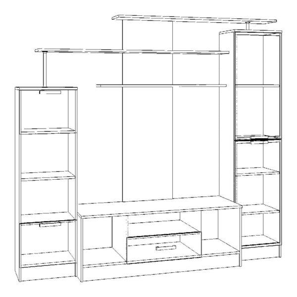 Картинка Стенка-горка №1 в гостиную черно-белая схема ракурс-1
