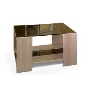 Картинка Журнальный столик Домино №10 стеклянный Беленый Дуб дизайн-1 ракурс-1